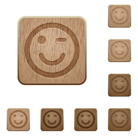 variations: Set of carved wooden winking emoticon buttons in 8 variations.