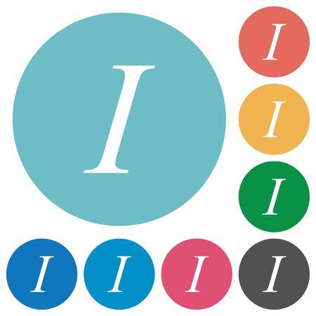 italic: Flat italic font icon set on round color background. Illustration