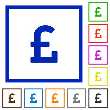 pound sign: Set of color square framed pound sign flat icons Illustration