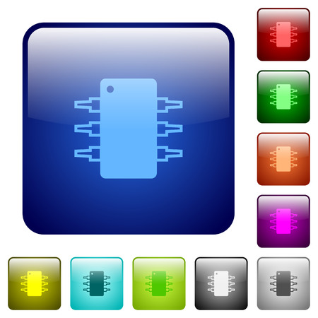 ic: Set of color integrated circuit glass web buttons.