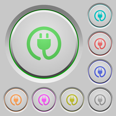 power cord: Set of color power cord sunk push buttons. Illustration