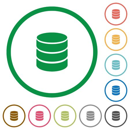 sql: Set of database color round outlined flat icons on white background