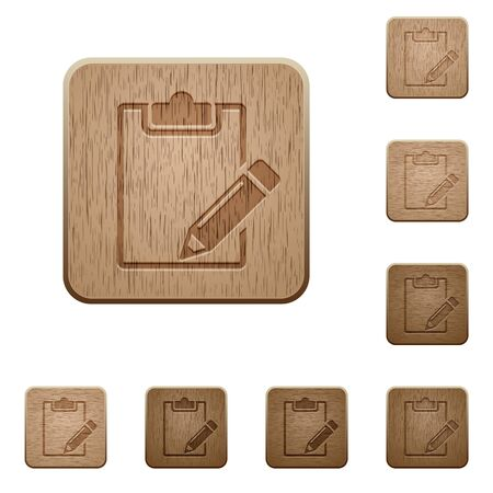 variations set: Set of carved wooden notepad buttons in 8 variations.
