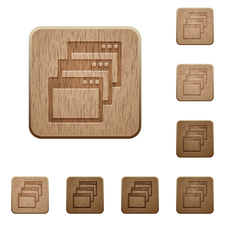 gradual: Set of carved wooden Cascade window view mode buttons in 8 variations.