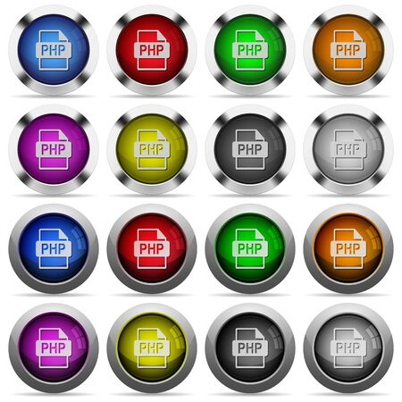 php: Set of PHP file format glossy web buttons. Arranged layer structure. Illustration