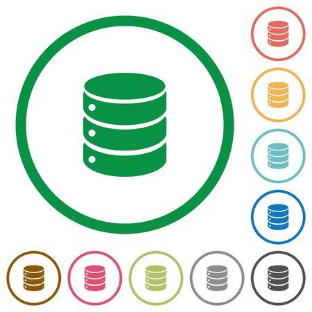 mysql: Set of database color round outlined flat icons on white background
