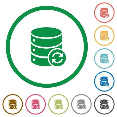 mysql: Set of Syncronize database color round outlined flat icons on white background