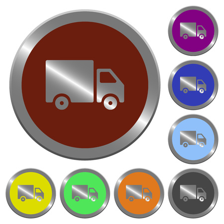 Set of color glossy coin-like delivery buttons. Illustration