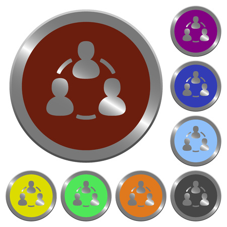 coinlike: Set of color glossy coin-like online users buttons.