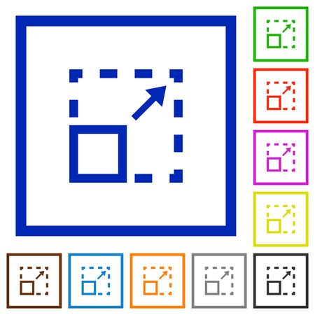maximize: Set of color square framed maximize element flat icons