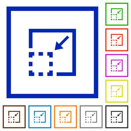 minimize: Set of color square framed minimize element flat icons