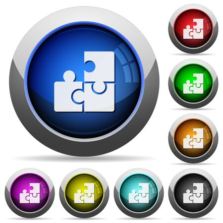 plugin: Set of round glossy puzzle buttons. Arranged layer structure.