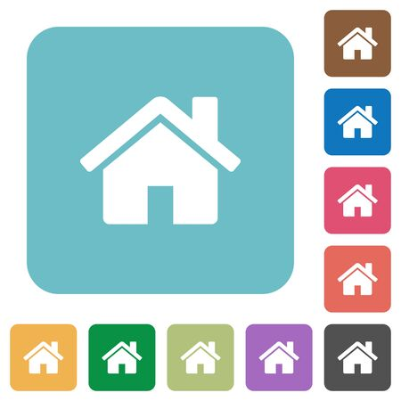 chimney corner: Flat home icons on rounded square color backgrounds. Illustration