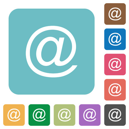 addresses: Flat email symbol icons on rounded square color backgrounds.