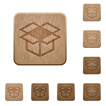 polished wood: Set of carved wooden open box buttons in 8 variations.