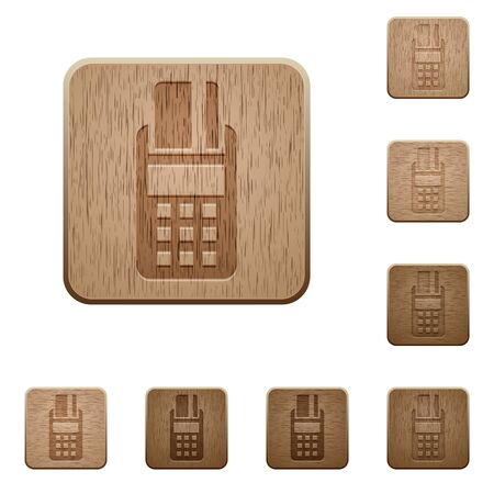 cardreader: Set of carved wooden POS terminal buttons in 8 variations.