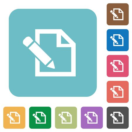 Flat edit icons on rounded square color backgrounds. Illustration