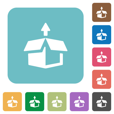 excluding: Flat unpack icons on rounded square color backgrounds. Illustration
