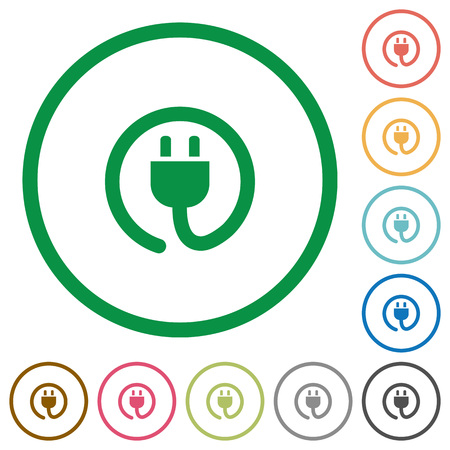lasting: Set of power cord color round outlined flat icons on white background Illustration