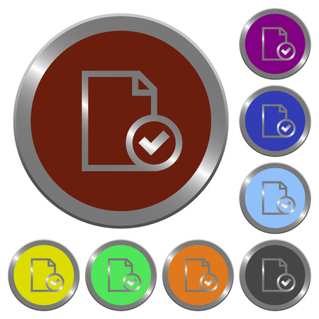 Set of color glossy coin-like document accepted buttons. Illustration