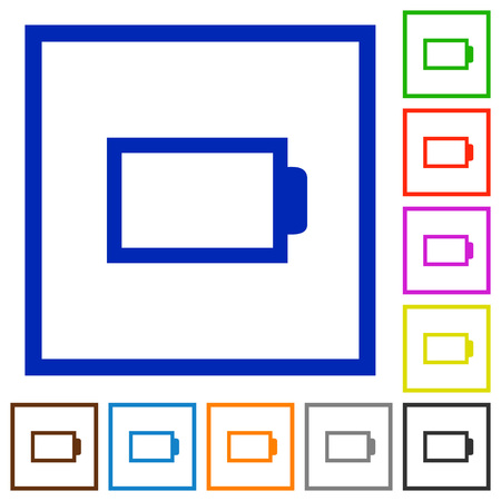 accu: Set of color square framed empty battery flat icons