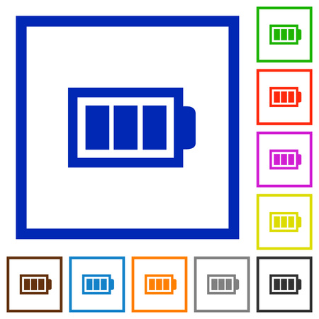 accu: Set of color square framed full battery flat icons Illustration