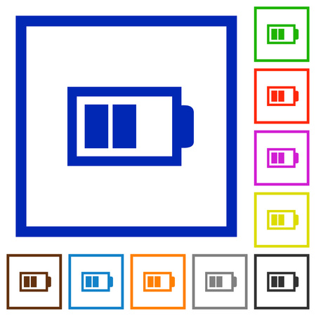 accu: Set of color square framed half battery flat icons