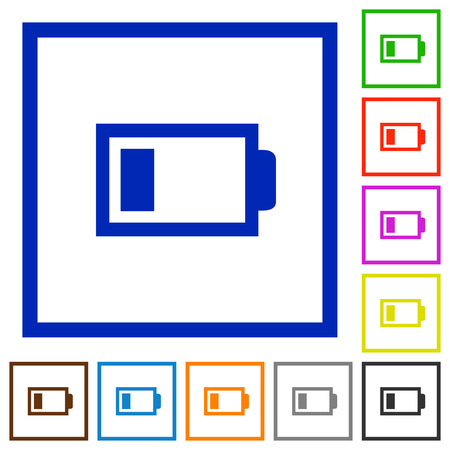 accu: Set of color square framed low battery flat icons Illustration
