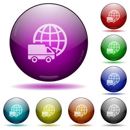 Set of color International transport glass sphere buttons with shadows.