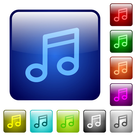 junket: Set of color music note glass web buttons. Illustration