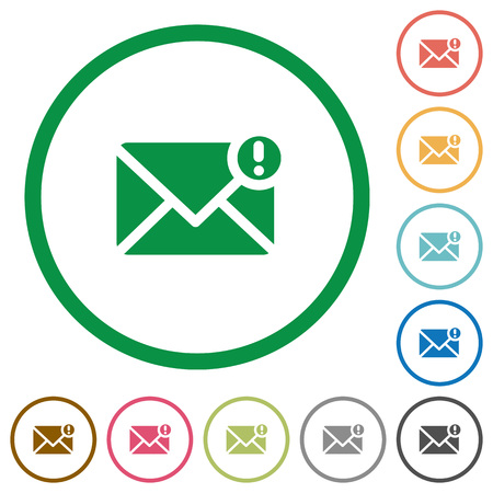 exclamatory: Set of important message color round outlined flat icons on white background