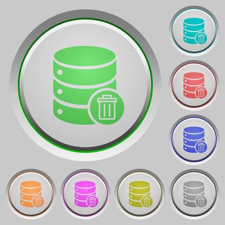 mysql: Set of color delete database sunk push buttons.