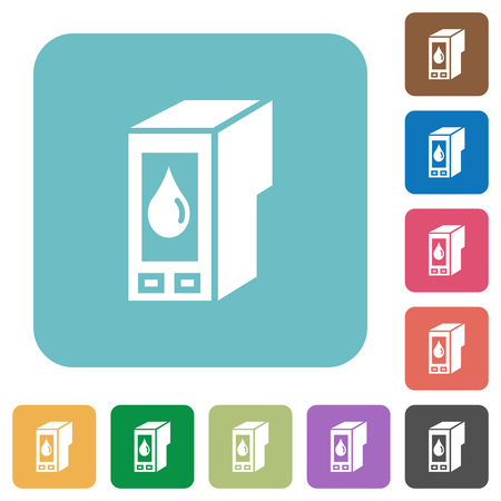 cartridge: Flat ink cartridge icons on rounded square color backgrounds. Illustration