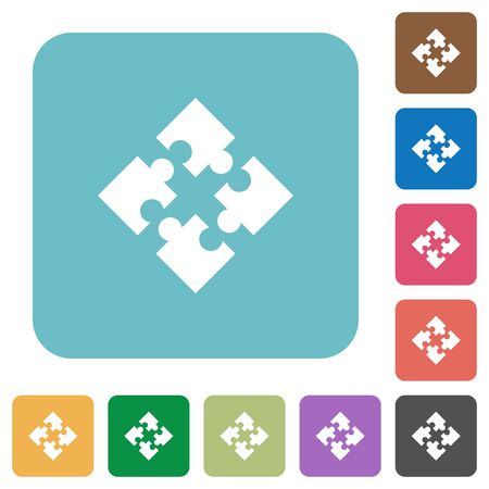 modules: Flat modules icons on rounded square color backgrounds.