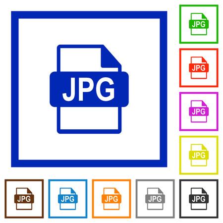 filetype: Set of color square framed JPG file format flat icons Illustration