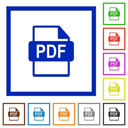 datasets: Set of color square framed PDF file format flat icons Illustration