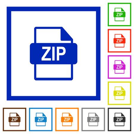 filetype: Set of color square framed ZIP file format flat icons