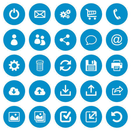 Set of 25 general flat web icons on blue round background