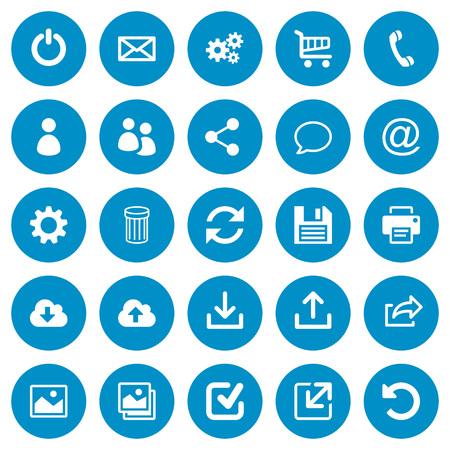 Zestaw 25 ogólnych płaskich ikon internetowych na niebieskim okrągłym tle