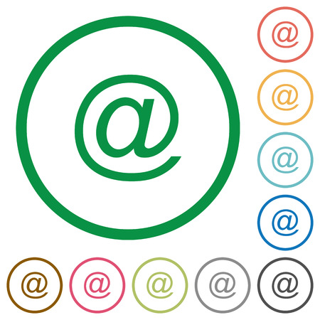 addressee: Set of email symbol color round outlined flat icons on white background