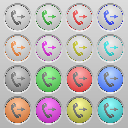 outbound: Set of Outgoing call plastic sunk spherical buttons. Illustration