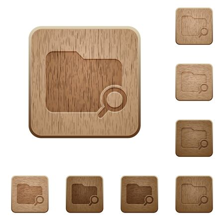 carved: Set of carved wooden search folder buttons in 8 variations.