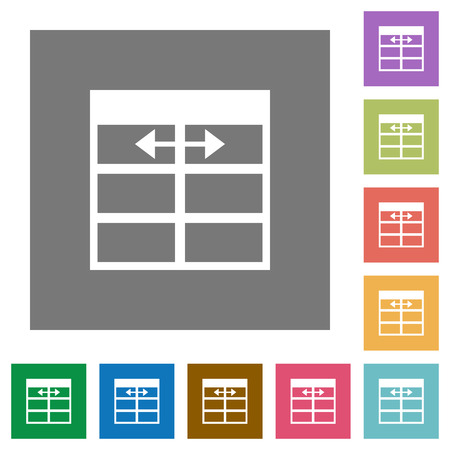 formatting: Adjust table column width flat icon set on color square background.