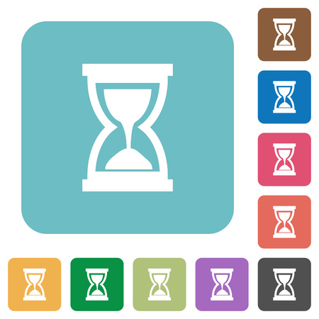 elapsed: Flat hourglass icons on rounded square color backgrounds.
