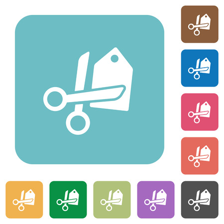 price cut: Flat price cut icons on rounded square color backgrounds.