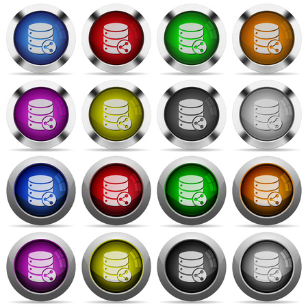 dependencies: Set of database table relations glossy web buttons. Arranged layer structure. Illustration