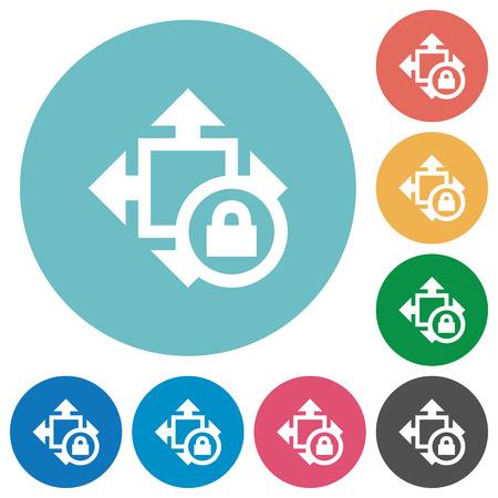 shrink: Flat size lock icon set on round color background.