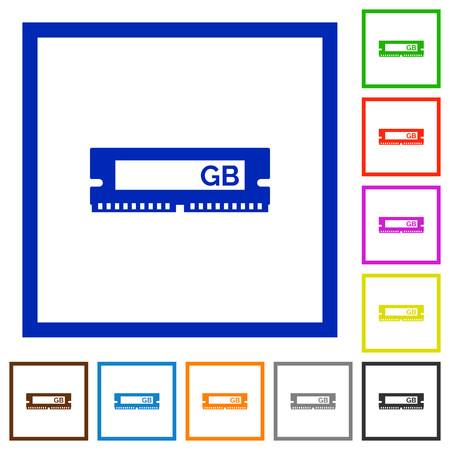 kilobyte: Set of color square framed RAM module flat icons