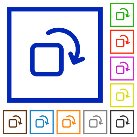 rotate: Set of color square framed rotate element flat icons