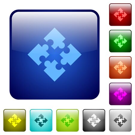 Set of modules color glass rounded square buttons Illustration